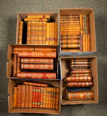Five Boxes of Miscellaneous Leather-Bound Books in Swedish