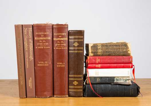 Lot of Four Hillsborough, NH Histories, Bibles, and Daniel Webster Dictionary
