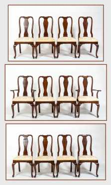 Set of Twelve Queen Anne Style Mahogany Dining Chairs