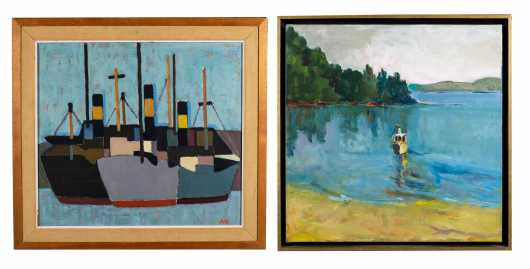 Two Swedish Paintings of Boats