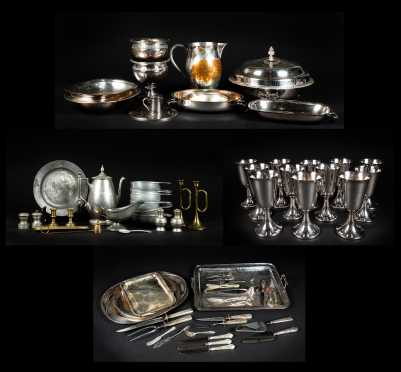 Four Trays of Miscellaneous Silver Plate, Brass and Pewter