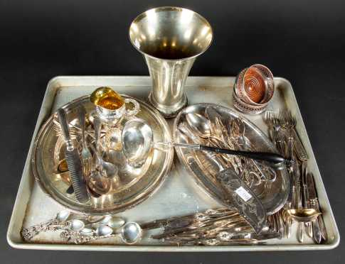 Large Lot of Miscellaneous Silver Plate