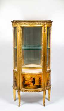 French Style Paint Decorated and Glass Curio Cabinet