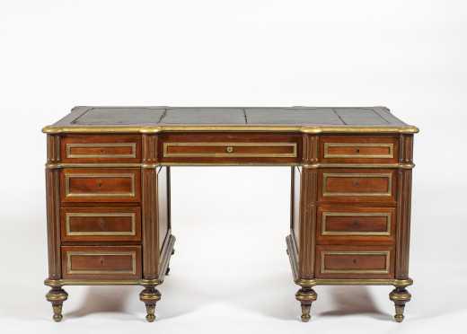 C1880 French LXVI Style Knee Hole Desk with Brass Trim