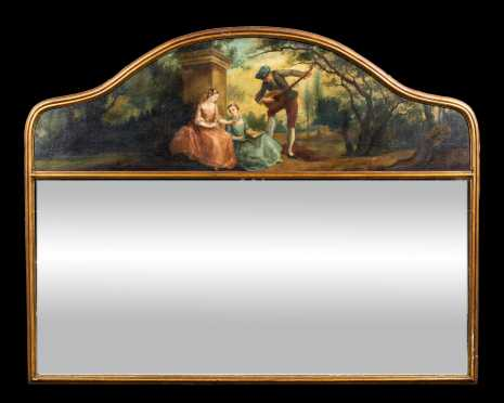 20thC Continental Overmantel Mirror with Crest Painting