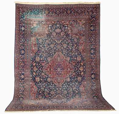 Semi Antique Kashan Room Size Oriental Rug
