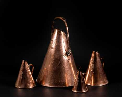 Set of Four Swedish 19thC Cone Shaped Copper Measures