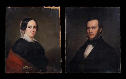 Pair of Primitive Portraits, Moses Wight, MA (1827-1895)