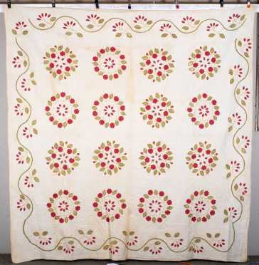19thC Trapunto Floral and Vine Border Quilt