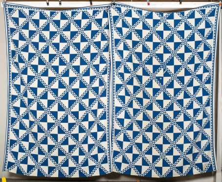 Pair of Blue and White Checkered Quilts