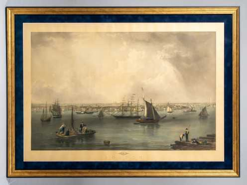 C1852 Print of Boston Harbor, After John W. Hill (American 1812-1879)