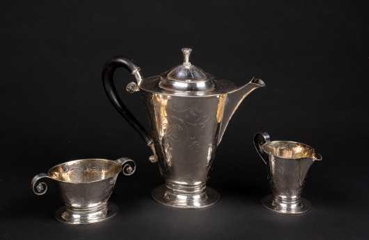 20thC Swedish Sterling Silver Three Piece Tea Service