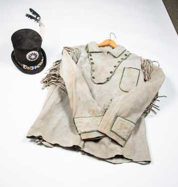 Western Leather Shirt and Native American Decorated Top Hat