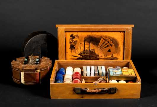 Steamboat Cased Card Gambling Boxed Set and Chip Holder