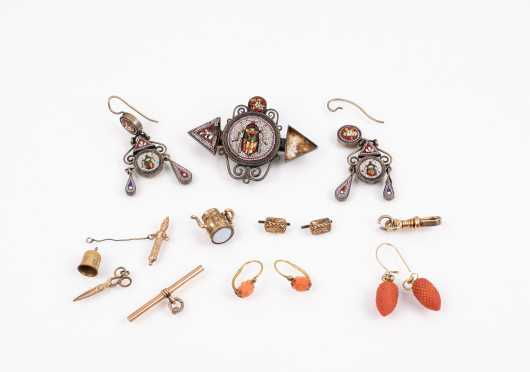 Lot of Antique Gold, Coral Jewelry and Micro Mosaic Beetle Set