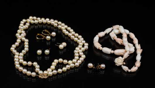 Lot of Pearl and Coral Jewelry