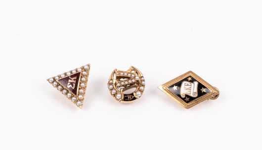Three Fraternity Gold Pins