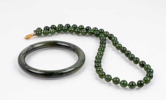 Dark Green Jade Bangle and Knotted Necklace