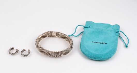 Tiffany & Co. Sterling Woven Bracelet and Earrings