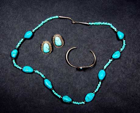 Three Pieces of Sterling and Turquoise Jewelry