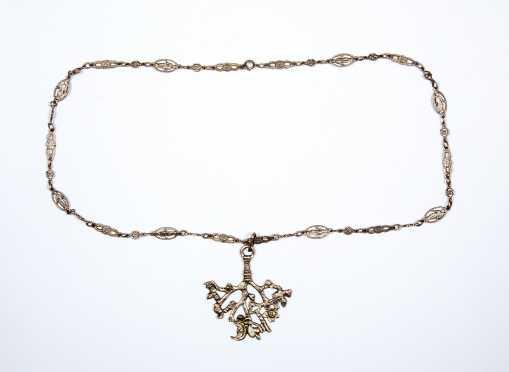 Unusual Silver Pendant on Elaborate Chain