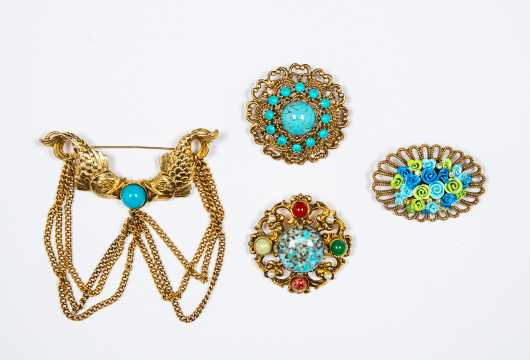 Lot of Four Retro Gold Tone and Turquoise Palette Costume Brooches