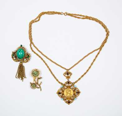 Highly Stylized Lot of Three Gold Tone Costume Pieces