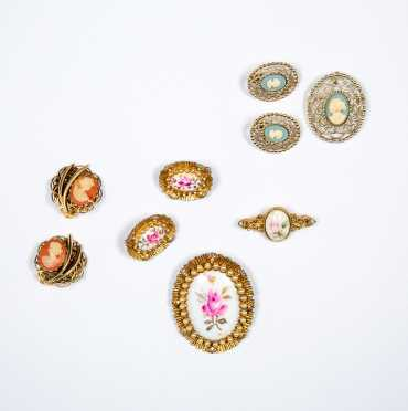 Lot of Cameo Style Costume Jewelry