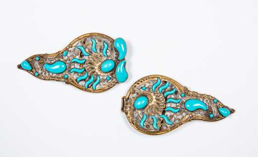 Large Brass and Faux Turquoise Belt Buckle