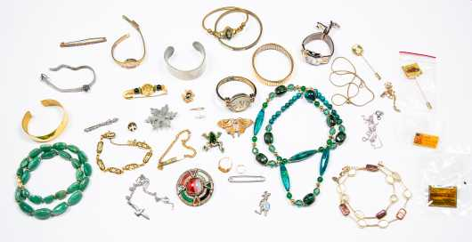 Lot of Various Costume Jewelry Pieces and Music Box