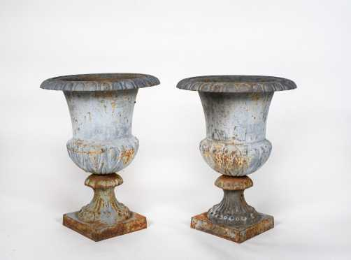 """Pair of Two Part Fluted Urns 20 1/4"""" Tall"""