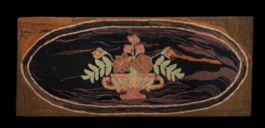 19thC Hooked Hearth Rug