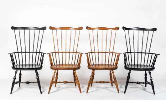 """Four """"Warren Chair Works, Warren RI"""" Windsors"""