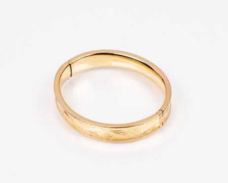 Engraved 14K Yellow Gold Bangle Bracelet