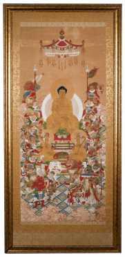 Polychrome Chinese Scroll of a Seated Buddha