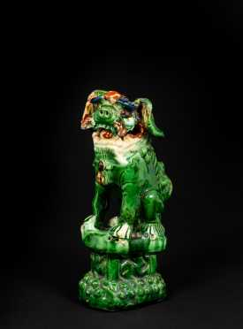 20thC Chinese Spinach Colored Glazed Pho Dog