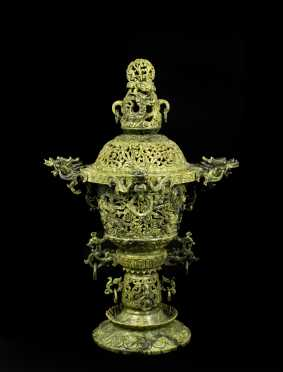 Chinese Jade Urn Form Censor or Lamp