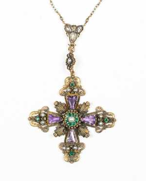 18thC Nuremberg Gold and Jeweled Cross Necklace