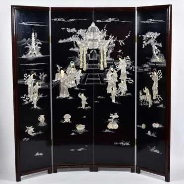 20thC Screen with Mother of Pearl Figural and Temple Decoration