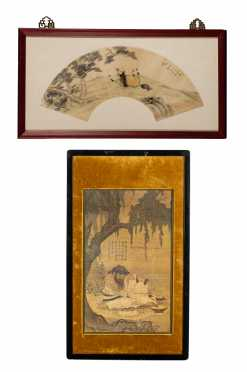 Chinese Print of a Painting and a Framed Watercolor Fan