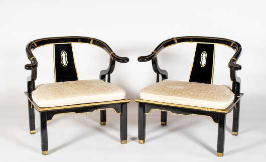 Pair of Chinese Yoke Back Armchairs in Black Lacquer