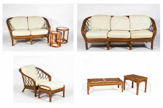 Eight Pieces of Rattan Furniture