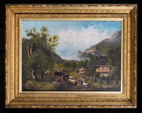 Continental Farm Scene in a Good Gilt Frame