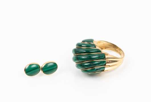 Large Malachite and 14K Scallop Dome Ring and Malachite Stud Earrings