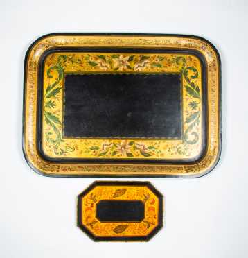 Two Decorated Tin Trays