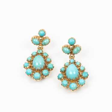 14K and Turquoise Drop Earrings