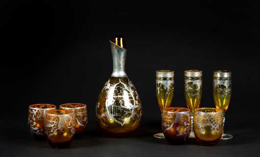 Bohemian Glass Decanter Set with Silver Overlay