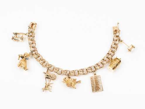 Yellow Gold Chunky Charm Bracelet