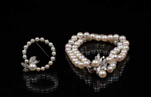 Pearl and Diamond Bracelet and Coordinating Circle Pin
