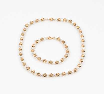 Convertible Pearl and 14K Gold Bead Necklace and Bracelet